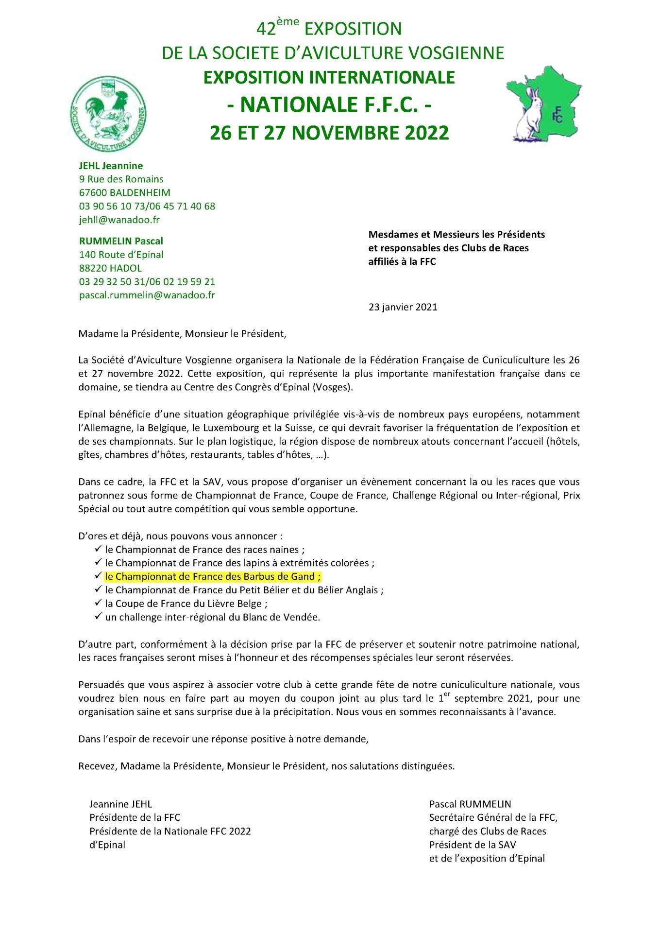 Demandes competitions aux clubs 1