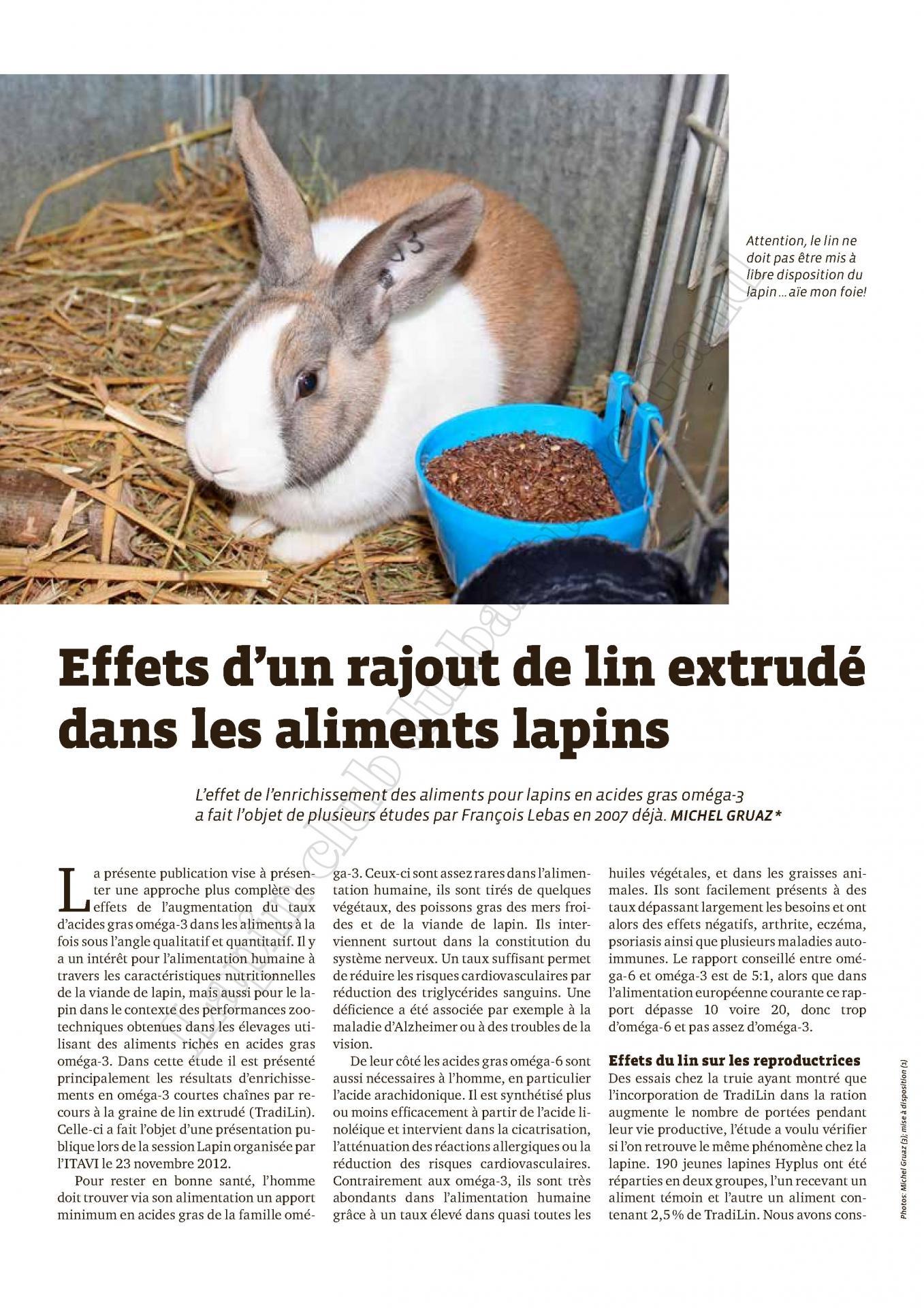 Effets d un rajout de lin extrudes dans les aliments lapin 1