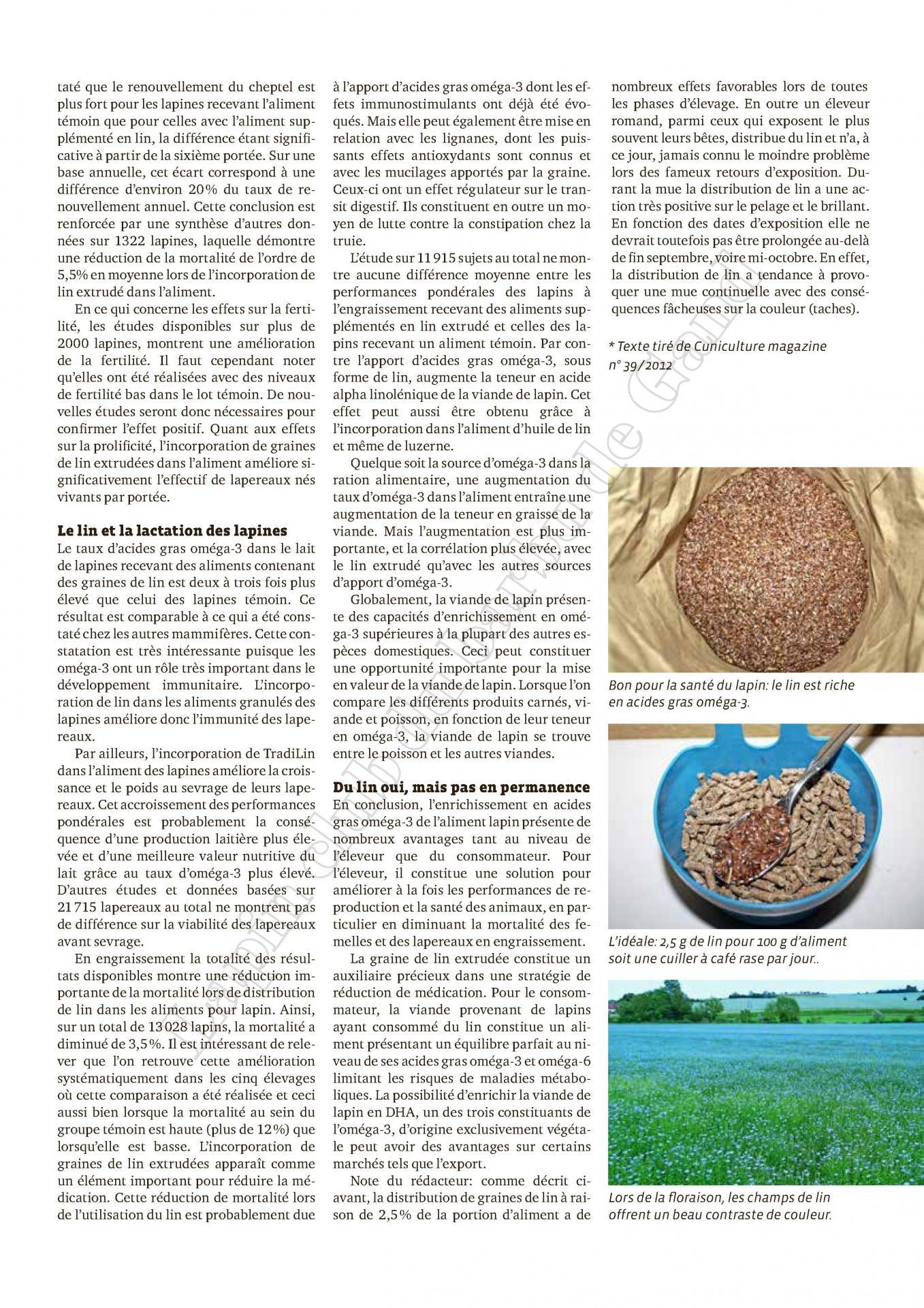 Effets d un rajout de lin extrudes dans les aliments lapin 2