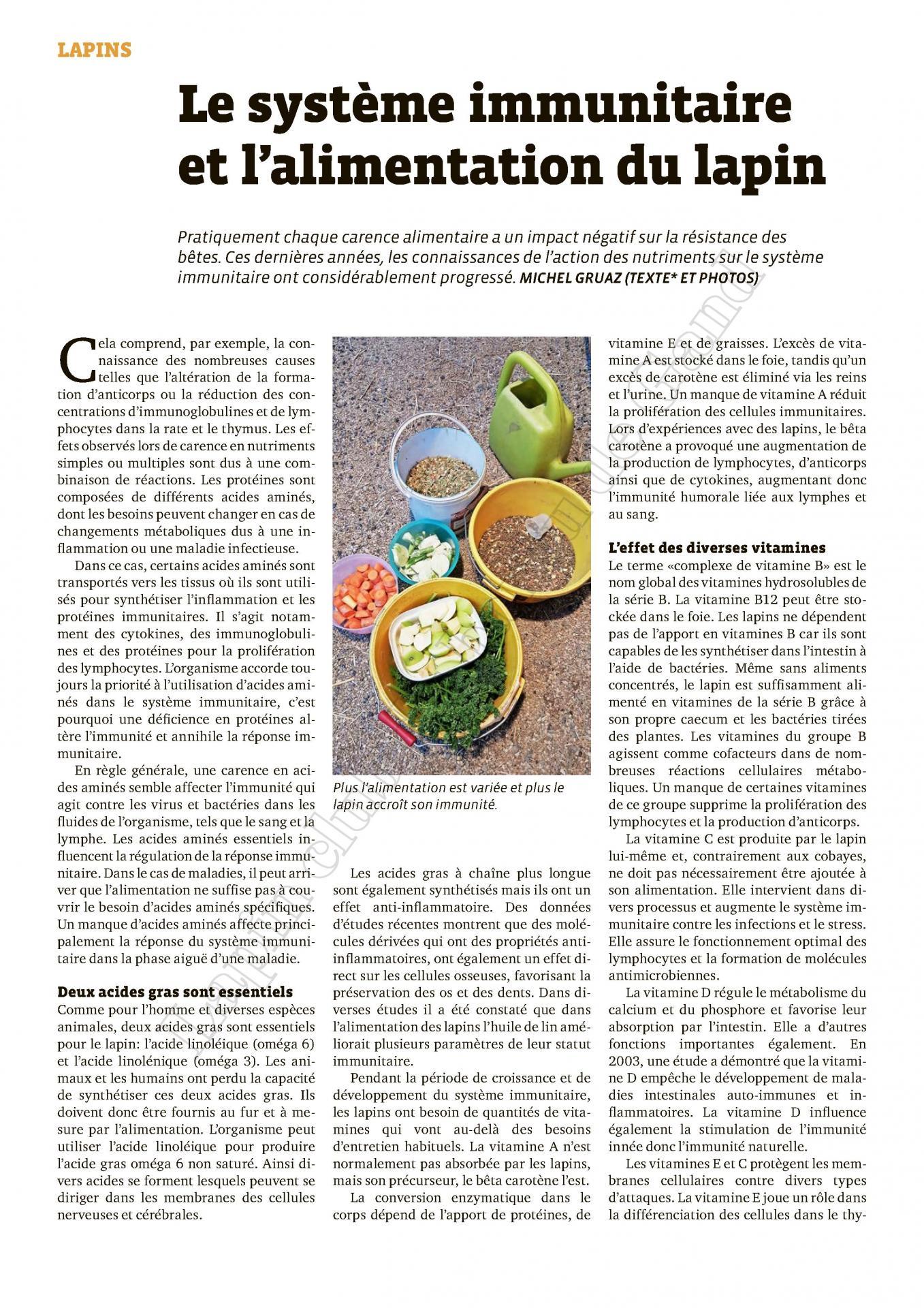 Le systeme immunitaire et l alimentation du lapin 1